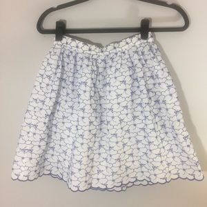 Lands End embroidered blue and white eyelet skirt